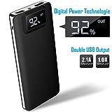 FOR ME Batterie Externe 12000mAh Haute Capacité Power Bank Chargeur Portable sans Fil Deux Entrées et 2 Ports Vitesse avec Affichage LCD Numérique pour Tablette Smartphone