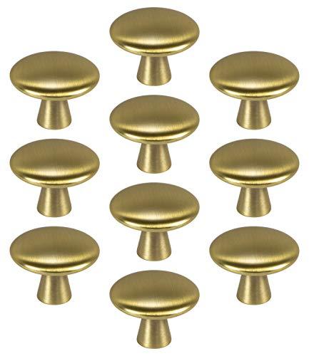 Gedotec Design Möbelknopf Messing Schrankknopf Gold - Tara | Metall Türknopf rund | Schubladen-Knopf Ø 30 mm | Kommoden-Knopf Kleider-Schränke & Küche | 10 Stück - Möbel-Knauf Vintage mit Schrauben