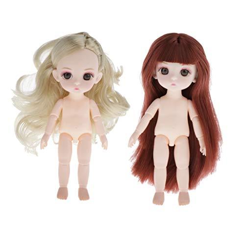 P Prettyia 2 Stück 16cm Kugelgelenk Puppe Mädchenpuppe mit 3D-Augen, abnehmbarem Kopf, 13 beweglichen Gelenken