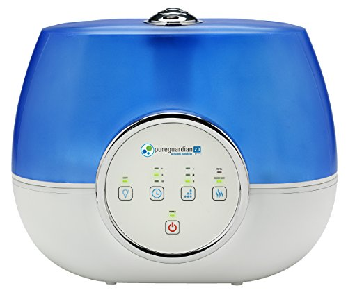 Pure Guardian H4810AR Ultrasonic Warm and Cool Mist Humidifier, 120 Hrs. Run Time, 2 Gal. Tank, 600 Sq. Ft. Coverage, Large Rooms, Quiet, Filter Free, Silver Clean Treated Tank, Essential Oil Tray