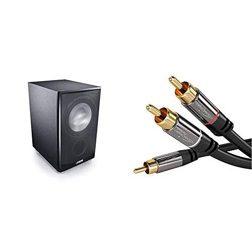 Canton AS 85.3 SC Leistungsstarke Aktiv-Subwoofer (200/280W) schwarz & KabelDirekt - Cinch Audio Y-Kabel - 3m - (Koaxialkabel geeignet für Verstärker, Stereoanlangen, HiFi Anlagen)