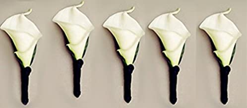 5pc Boutonnieres - Real Touch Calla Lily with Black Satin Ribbon - Artificial Flowers