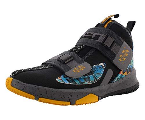 Nike Boys' Big Kids Lebron Soldier 13 Basketball Shoes (6.5, Black/University Gold/Gunsmoke)