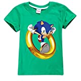 Unisex Kids Cartoon Sonic-Hedgehog Fashion T-Shirt Cotton tee Summer Short Sleeve Shirt Casual Top(Green,160cm)