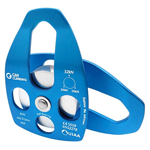 GM CLIMBING 32kN UIAA Certified Large Rescue Pulley Single/Double Sheave with Swing Plate CE/UIAA (Single Pulley - Blue)