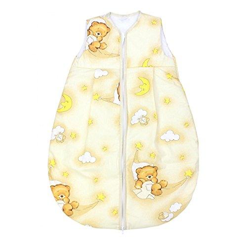 TupTam Baby Schlafsack Wattiert ohne Ärmel ANK001, Farbe: Bärchen Mond Beige, Größe: 104-110