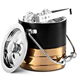 Mitbak Doubled Walled Ice Bucket with Ice Tongs   Sleek Insulated Stainless Steel Ice Holder Will...
