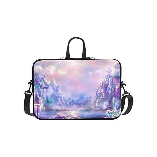 15.6″Lightweight Laptop Notebook Shoulder Backpack Bag Fantastic Landscape Digital Art Illustration Dawn Waterproof PC Briefcase Messenger with Strap