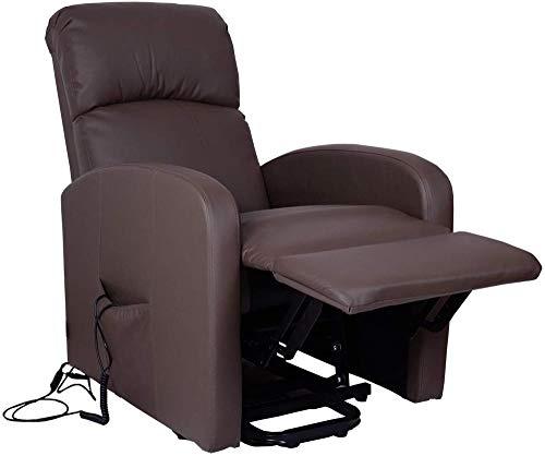 Ldoons Relax Poltrona, Movimento Elettrico con Funzione Alzapersona Recrinabile Massaggio, Telecomando Incluso, Profondo Rosso, 65 x 91 x 101 cm