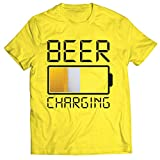 lepni.me Camisetas Hombre Carga de Cerveza, Citas Divertidas, Humor de Bar para Amantes de la Cerveza (XXX-Large Amarillo Multicolor)