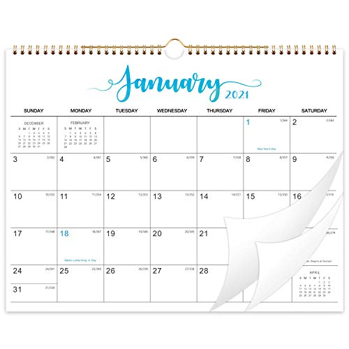 """2021-2022 Calendar - 18-Month Wall Calendar with Thick Paper, 14.6"""" x 11.5"""", Jan. 2021 - Jun. 2022, Twin-Wire Binding + Hanging Hook + Large Blocks with Julian Dates - White"""