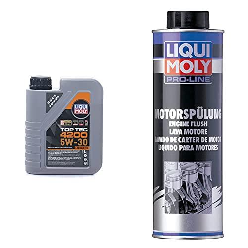 Liqui Moly 8972 Aceite De Motor, Top Tec, 4200, 5W-30, Booklet, 1 L + 2427 Motor Limpiar, Lavado De Cárter De Motor, 500 Ml,