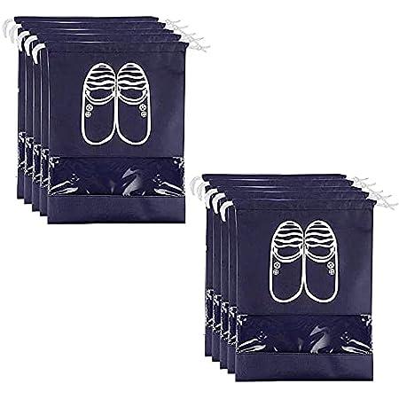 Borsa Scarpe da Viaggio 10 Pack, TankerStreet Sacchetti Portascarpe Organza Multiuso Antipolvere Sacca da Viaggio Impermeabile con Finestrella Trasparente, Taglia per Uomo e Donna, 44 x 33cm Blu Dark