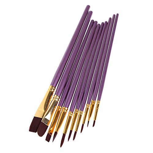 SSSZKJY 10 PCS Purple Artist Paint Brush Set Nylon Hair Watercolor Oil Painting Brushes Drawing Art
