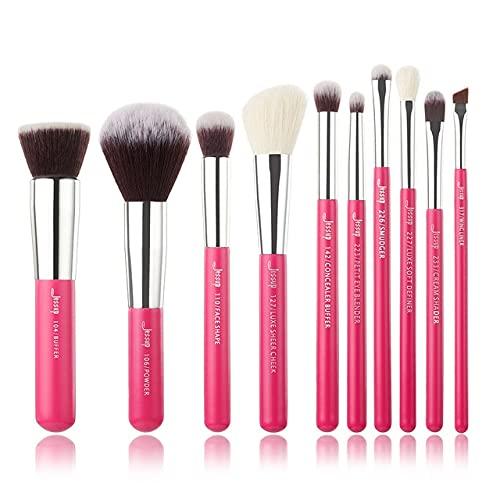 Rose Rouge/Silver Makeup Brush Set Beauty Foundation Powder Eyeshadow Makeup Brush 6-25 Natural Synthetic Hair - T196(10PCS)