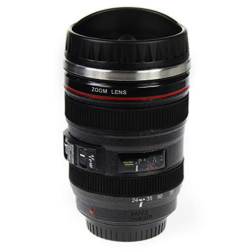 Monsterzeug Kaffeebecher Kameraobjektiv, Thermo Kaffeetasse, Origineller Objektiv-Becher mit Deckel und doppelwandiger Isolierung, Füllmenge:400 ml