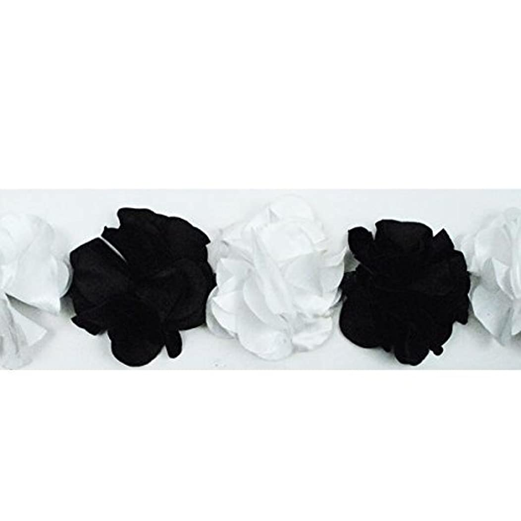 Expo International Satin Look Flower Fabric Trim Embellishment, 10-Yard, Black/White