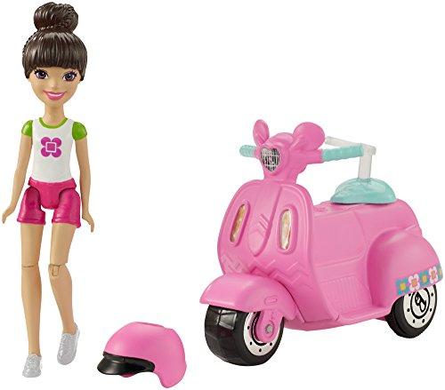 Barbie FHV80 On The Go Puppe (brünett) & Fahrzeug (rosa)