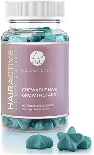 Hairworthy – Acción rápida crecimiento del cabello masticables Vitaminas. Suplemento Natural para el pelo largo con aceite de coco, Biotina y Ácido Fólico.