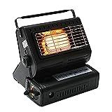 Vecksoy Calentador y estufa de gas portátil 2 en 1, calentador de gas de camping con llama ajustable para acampar al aire libre, barbacoa, pesca de hielo de invierno, montañismo (rojo/negro)