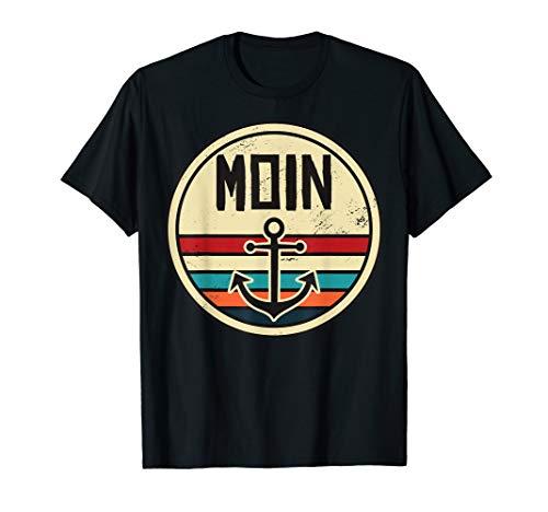 Moin Anker Meer Norddeutsch Retro Kapitän Geschenk Seemann T-Shirt