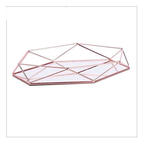 RUI - K25 Europea Vidrio Metal Exhibición Joyería Placa Geométrica Bandeja Espejo Oro Rosa Anillo Joyería Almacenamiento Plato Decoración Decorativo Estante Bandejas (Color : Rose Gold)