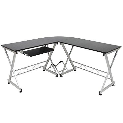 Best Choice Products - Estación de trabajo modular en forma de L para el hogar, la oficina con bandeja para teclado de mesa de madera, color negro