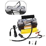 Create Idea Compresor de aire de doble cilindro resistente inflador de neumáticos de coche 150PSI 70L/min DC 12V Medidor automático eléctrico
