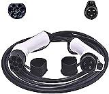 Cargador EV,TTLIFE Conector de cargador para vehículos eléctricos, cable de carga para vehículos eléctricos tipo 1 a tipo 2 de 32 amperios, 5 m para estación de carga de vehículos eléctricos