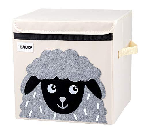 ilauke Kinder Aufbewahrungsbox Spielzeugbox für Kinderzimmer Aufbewahrungsbox Schaf mit Deckel zur Aufbewahrung im Kallax Regal (33x33x33cm)