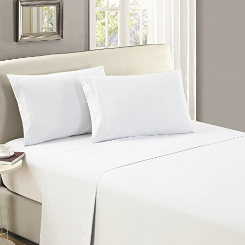 Mellanni Luxury Flat Sheet - Brushed Microfiber 1800 Bedding Top Sheet - Wrinkle, Fade, Stain Resistant - Ultra Soft - 1 Flat Sheet Only (Full, White)
