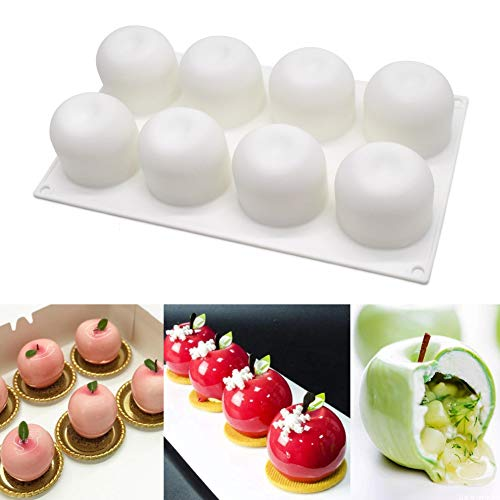 Moule à Gâteau en Silicone 8 Cavités Moule à Gâteau 3D en Silicone pour Cupcake Pâtisserie Dessert Souris Pomme