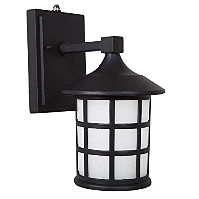 Maxxima LED Outdoor Wall Light, Black Metal Cage w/Frosted Glass, Photocell Sensor, 600 Lumens, Dusk to Dawn Sensor, 3000K Warm White