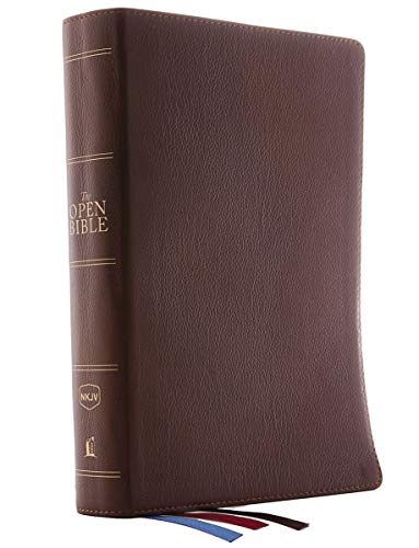 The NKJV, Open Bible, Genuine Leather, Brown, Red Letter Edition, Comfort Print: Complete Reference System