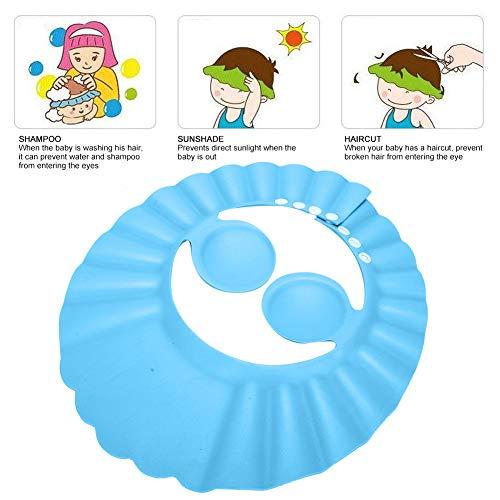 Parasol para el cabello Escudo ajustable Champú para ducha de bebé ajustable Sombrero de baño para el hogar para niños(blue)