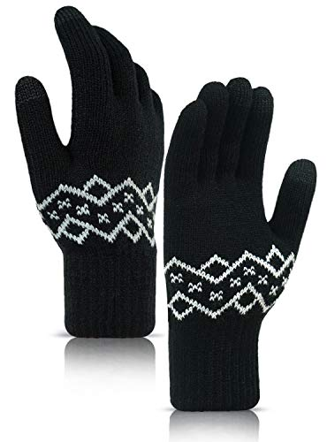 TRENDOUX Winterhandschuhe, Touchscreen-Fahrhandschuh Männer Frauen - Hände warm bei kaltem Wetter - Thermofutter - Gestricktes verdicktes Material - Winddicht Schreiben von Reithunden - Reinschwarz M