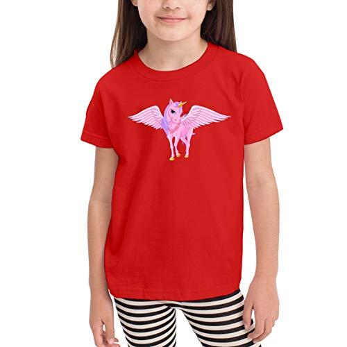 Pink Unicorn Pegasus Camisetas gráficas para niñas Adolescentes, niños y niñas, Camiseta de Manga Corta, Camisetas de algodón, Camisetas para niños, Tops 2-6t