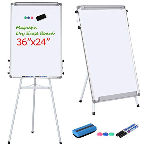 Yaheetech Tripod Whiteboard Easel - White Board Stand 36 x 24 Inches Magnetic Dry Erase Board Tripod Easel Board Portable Flipchart Board White