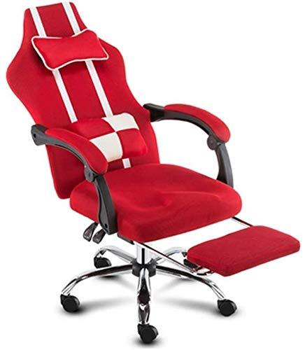 Drehstuhl Computer Stuhl, Gemütlich verstellbare Rückenlehne Drehstuhl mit Fußbank, Geeignet for Studium Wohnzimmer (5 Farben) Bürostuhl (Color : Red)