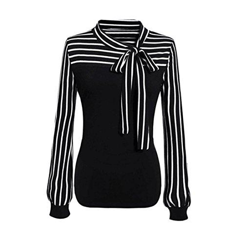 Zarupeng Elegante damesblouse, Tie-Bow Neck gestreept hemdblouse lange mouwen splitshirt bovenstukken dunne tuniek hemd T-shirt trui