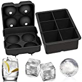 Ouddy 2 Pcs Ice Cube Tray, Large Square Ice Cube Mold Silicone Ice Cube Tray for Freezer Sphere Ice Ball Maker with Lid for Whiskey, Cocktails & Bourbon