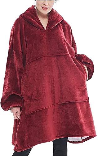 Sudadera con Capucha de Gran tamaño para Mujer, Sudadera con Capucha para Hombre, cálida y cómoda, Sudadera con Capucha Gigante, suéter con Capucha de Manga Larga súper Suave (Color : Red)
