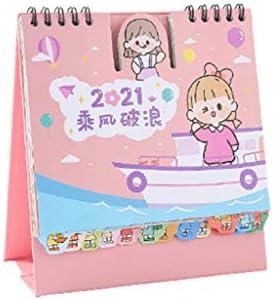FEANG 2021 Bureaukalender Leuke Desktop Kladblok Staande Flip Maandelijkse Kalender Bureau Dagboek met Memo en Notities voor Leren en Werken Kleur Roze