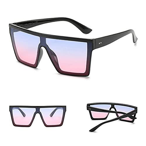 Gafas de sol Gafas De Sol Cuadradas De Gran Tamaño A La Moda Para Mujer, Parte Superior Plana Para Hombre, Lente Transparente Negra, Una Pieza Para Hombre, Espejo De Sombra Para Mujer, Cian