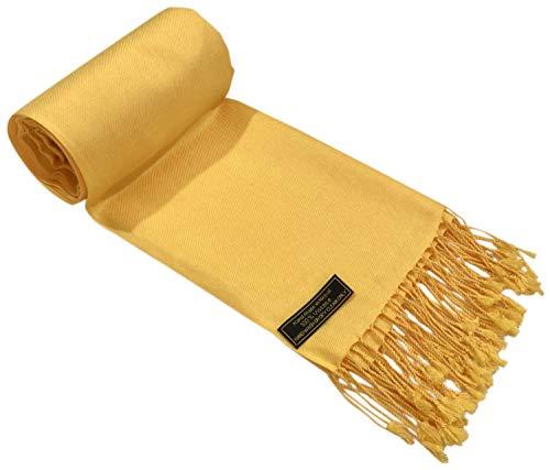 CJ Apparel Light Gold Solid Couleur Design châle écharpe Wrap Pashmina secondes NEUF