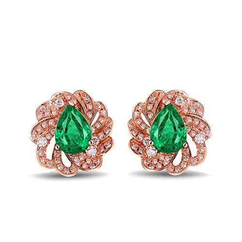 Aartoil 18K Rose Gold Stud Earrings for women Flower with 1.68ct Emerald Earring (Emerald: 1.68ct/1pcs)