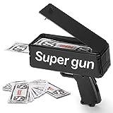 Sopu Black Money Gun Make it Rain Paper Playing Spary Money Toy Gun, Super Dollar Shooter Gun with 100 Pcs Play Money Cash Gun Party Props