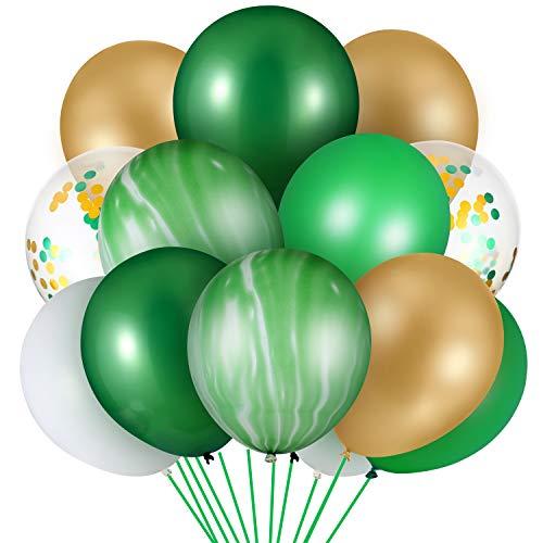 60 Piezas Globos de Fiesta de Selve Globos de Ágata Verde Globos de Látex Colorido Globos de Confeti Globos de Fiesta de Tema de Dinosaurio para Suministros de Fiesta Cumpleaños Boda