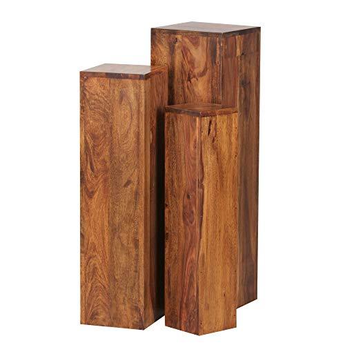 FineBuy Beistelltisch 3er Set Massivholz Sheesham Wohnzimmertisch Design Säulen Landhausstil Türme Tisch quadratisch Holztisch Natur-Produkt braun Echt-Holz Unikat Türme 4 Stanbeine Anstelltische