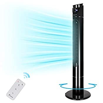 """Tower fan,43"""" 70°Oscillating Cooling Fan with Remote 9 Modes Up to 12H Timer LED Display Auto turn-Off Bladeless Standing Fan Portable for Whole Room  Black"""